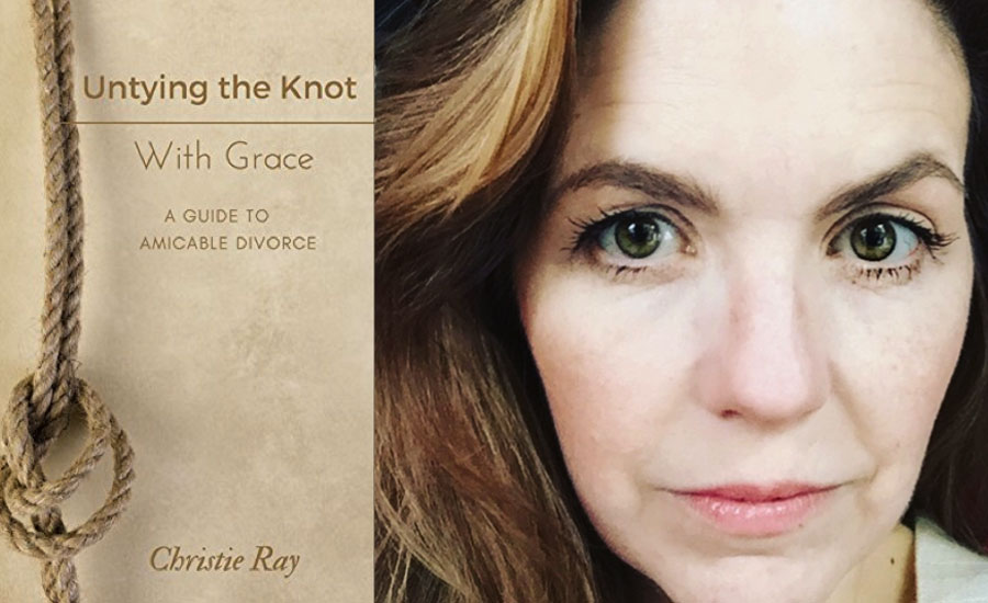 Headshot of Christie Ray with her book Untying the Knot