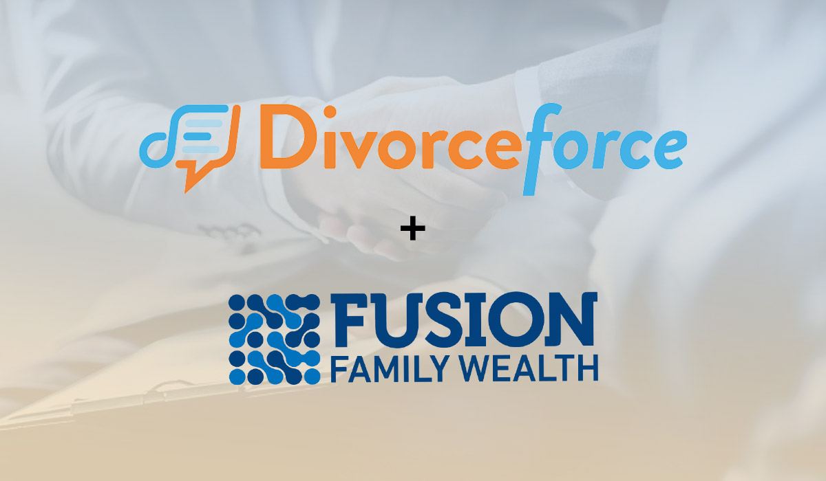 divorceforce and fusion family logo on top of image of businessmen shaking hands